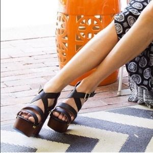 Navy Waxed Leather Cut Out Wedge Sandal